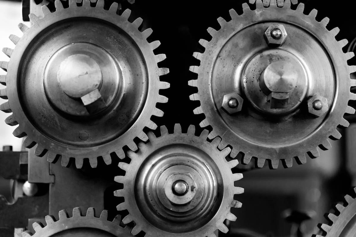 black n white gears - metaphor for drupal website accessibility - auditing & remediation