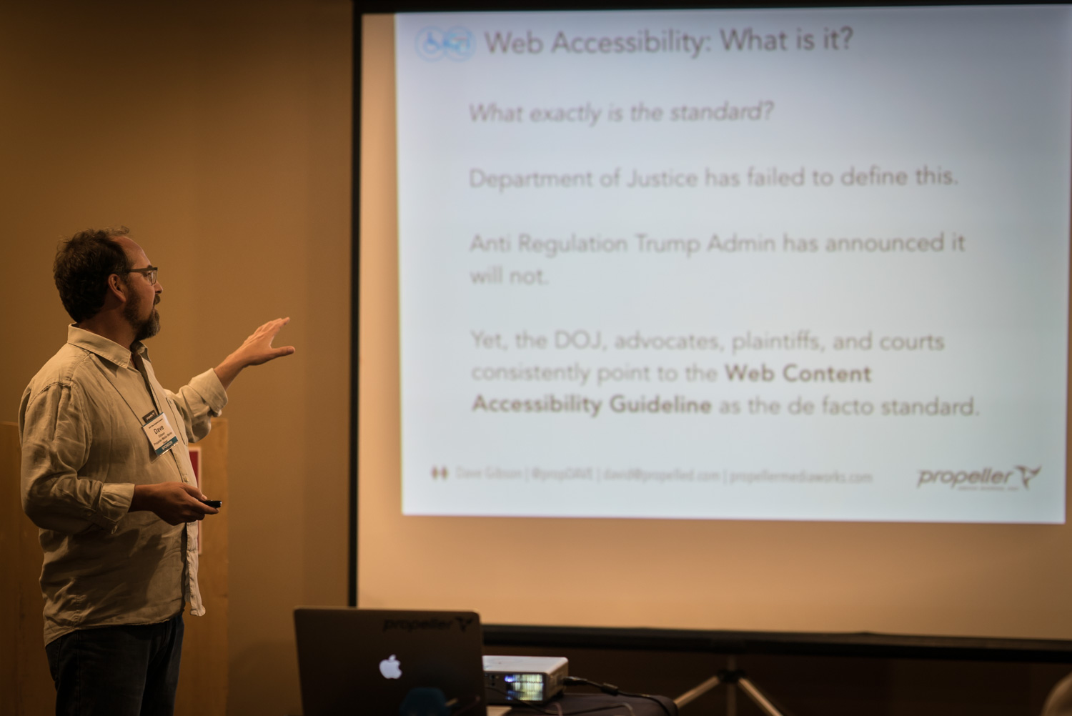 Dave Gibson speaking on web accessibility