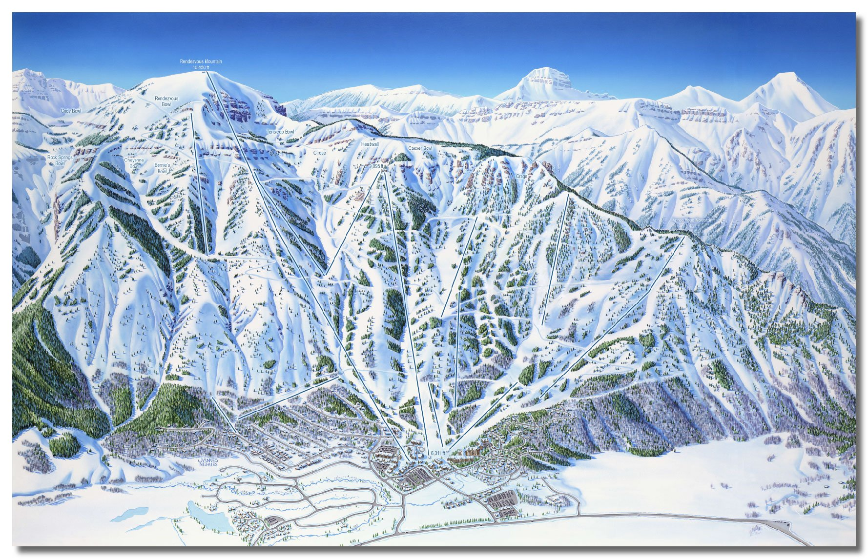 Ski Resort Map Artists - Jackson Hole