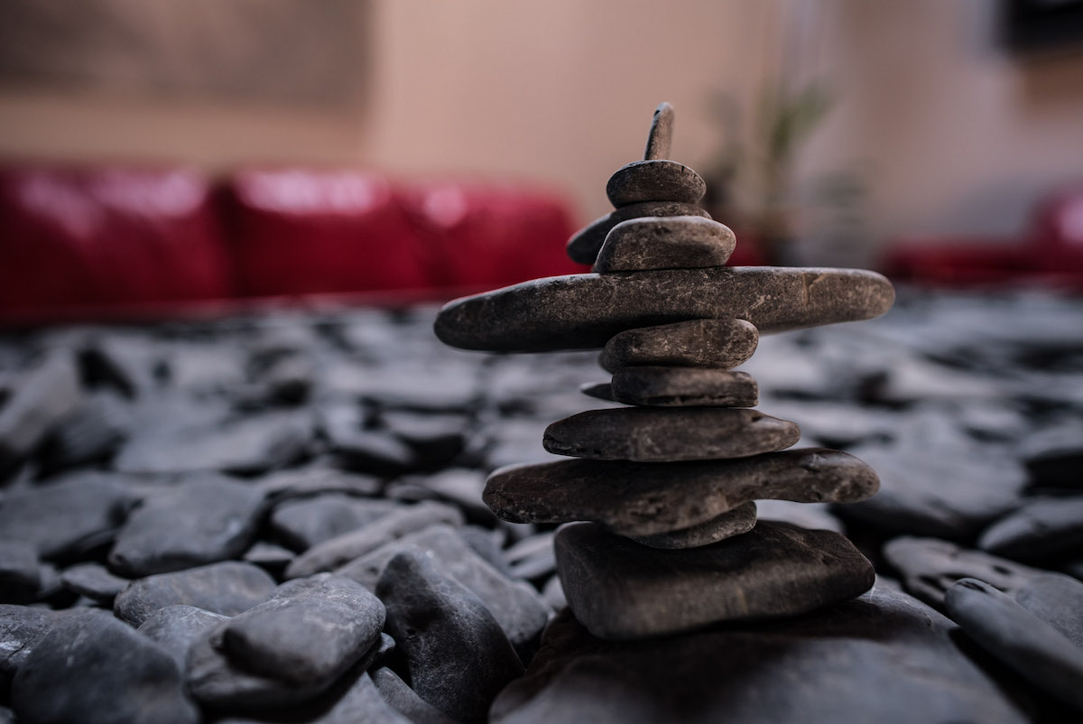 stack of small rocks on a table