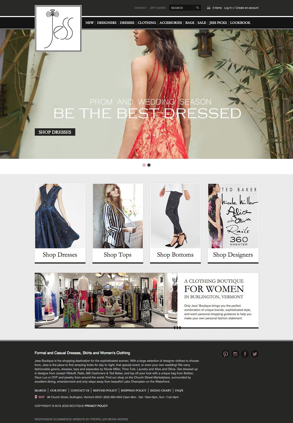 jess boutique homepage