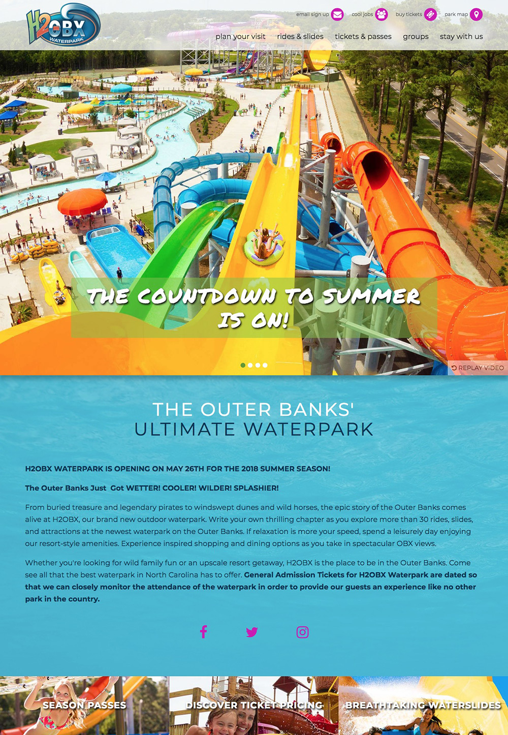 H2OBX Waterpark homepage